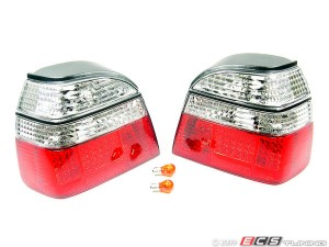 Depo Golf MK3 Tail Light Set - Clear/Red