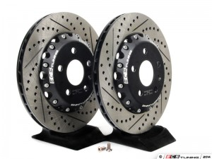Rear Cross-Drilled & Slotted 2-Piece Semi-Floating Brake Rotors - Pair (310x22)