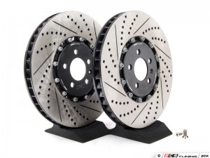 Front Cross-Drilled & Slotted 2-Piece Brake Rotors - Pair (334x32)